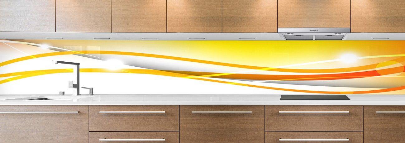 cr dence de cuisine sur mesure cr dence abstrait vague orange. Black Bedroom Furniture Sets. Home Design Ideas
