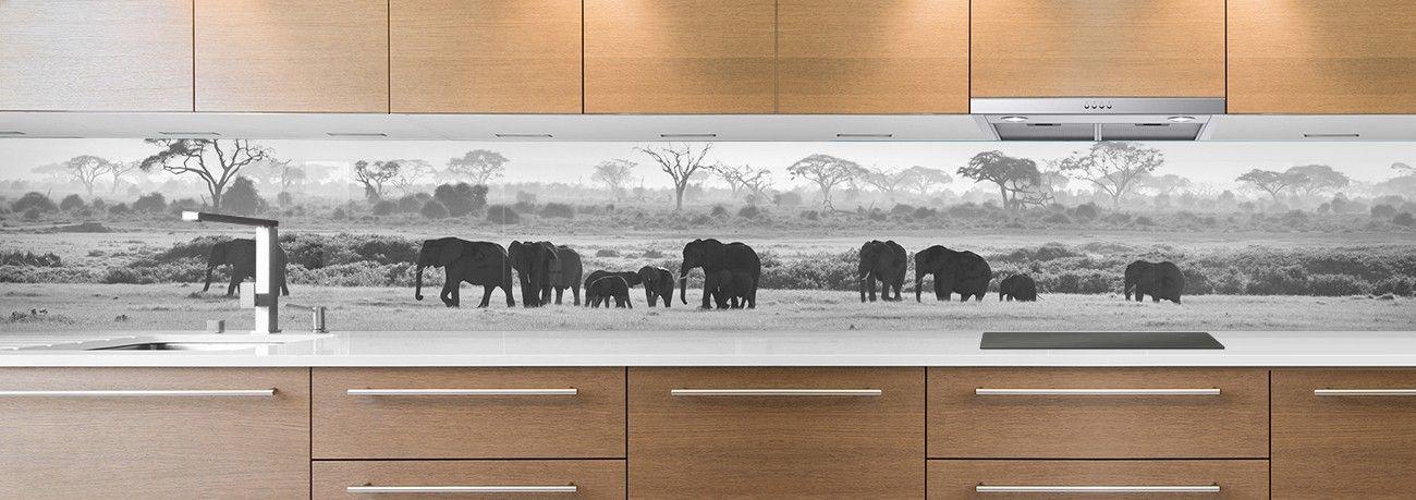 crédence famille d'éléphants noir & blanc