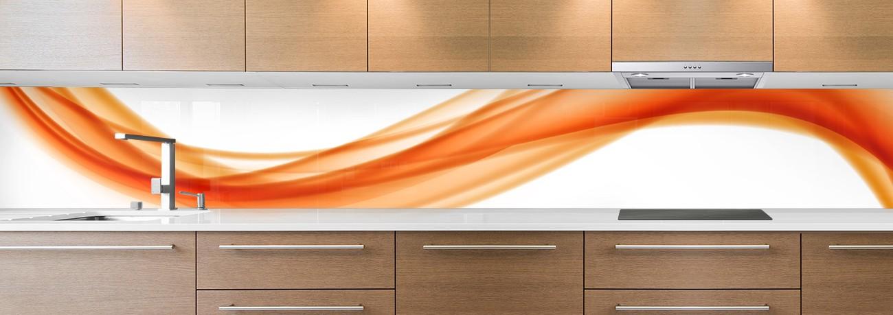 crédence de cuisine sur mesure crédence abstrait drapé orange