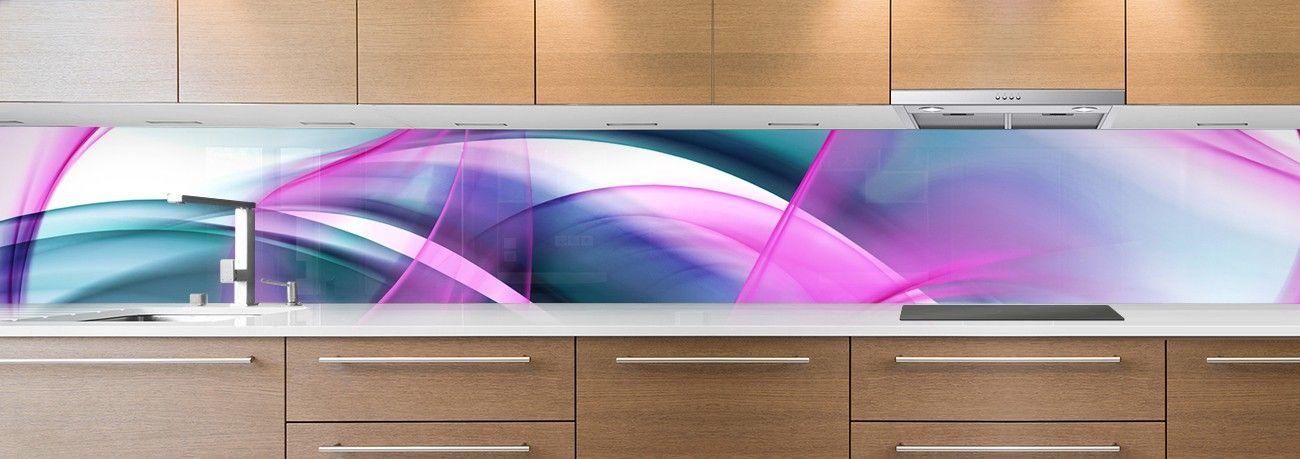 cr dence de cuisine sur mesure cr dence abstrait volupte bleu rose. Black Bedroom Furniture Sets. Home Design Ideas