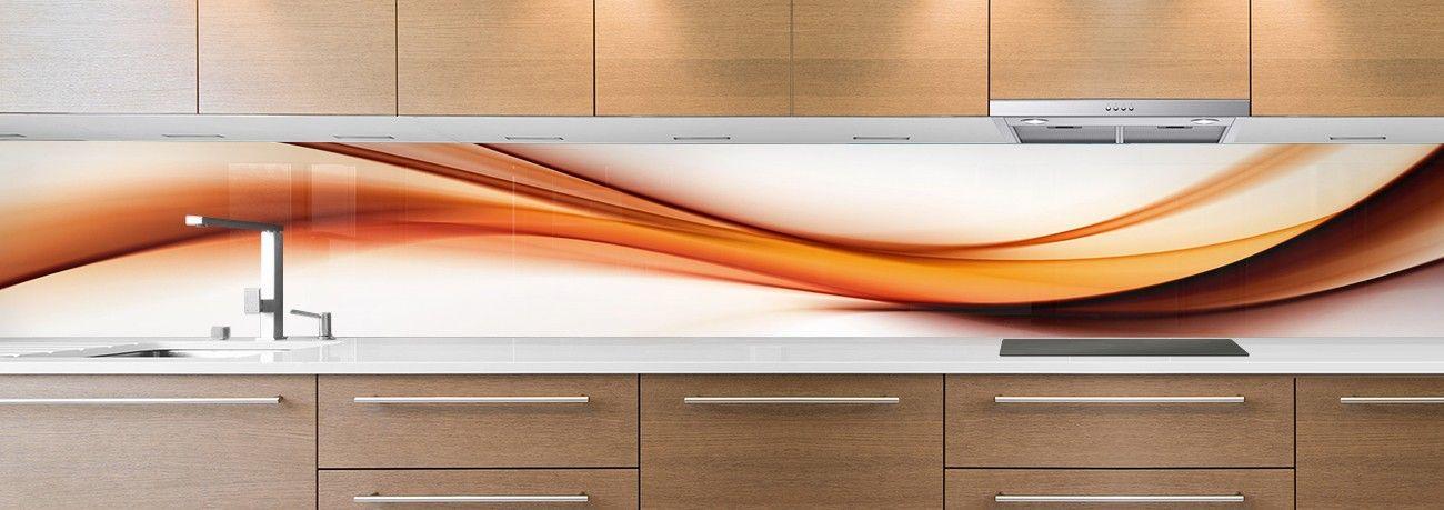 Cr dence de cuisine sur mesure cr dence abstrait fum e orange - Credence cuisine orange ...