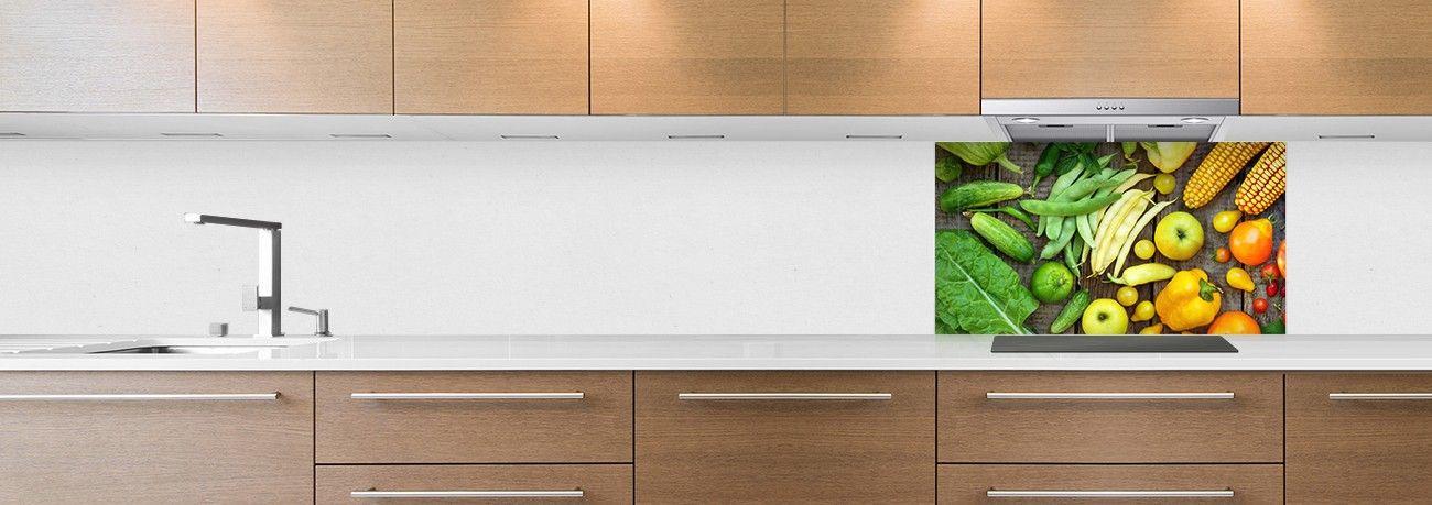 crédence aliment fond de hotte légumes vert & jaune