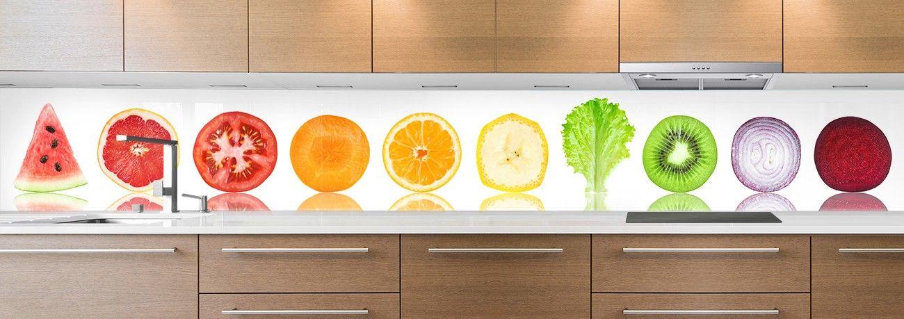 crédence aliment morceaux fruits & légumes