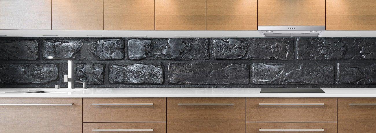 crédence grosse briques noire