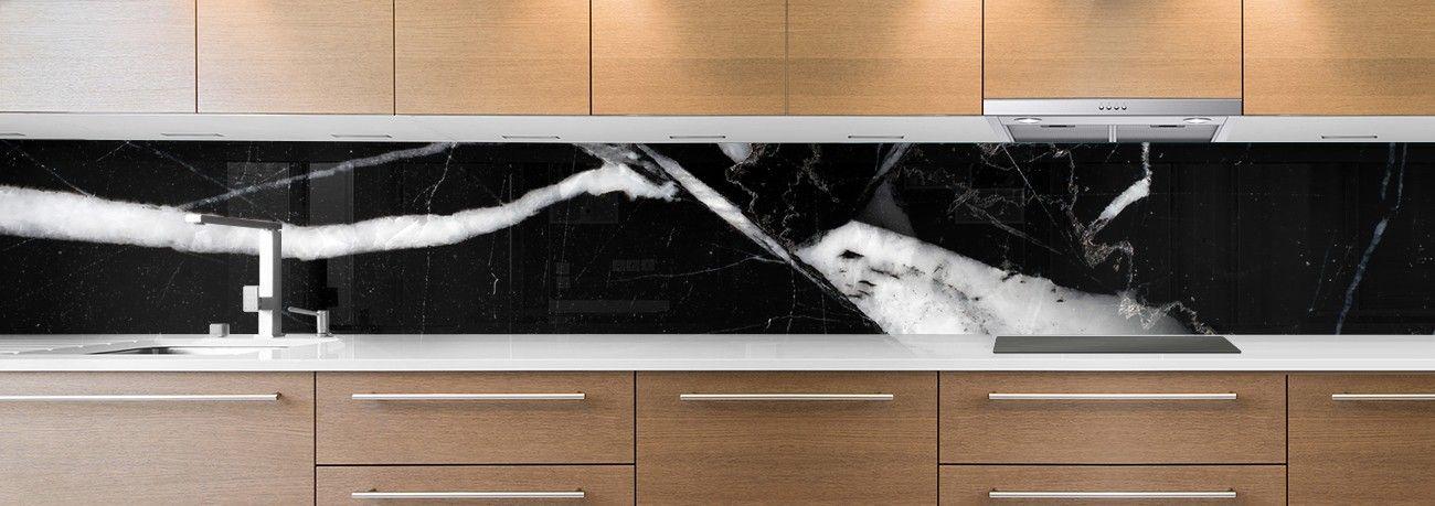 crédence de cuisine sur mesure crédence marbre noir & blanc