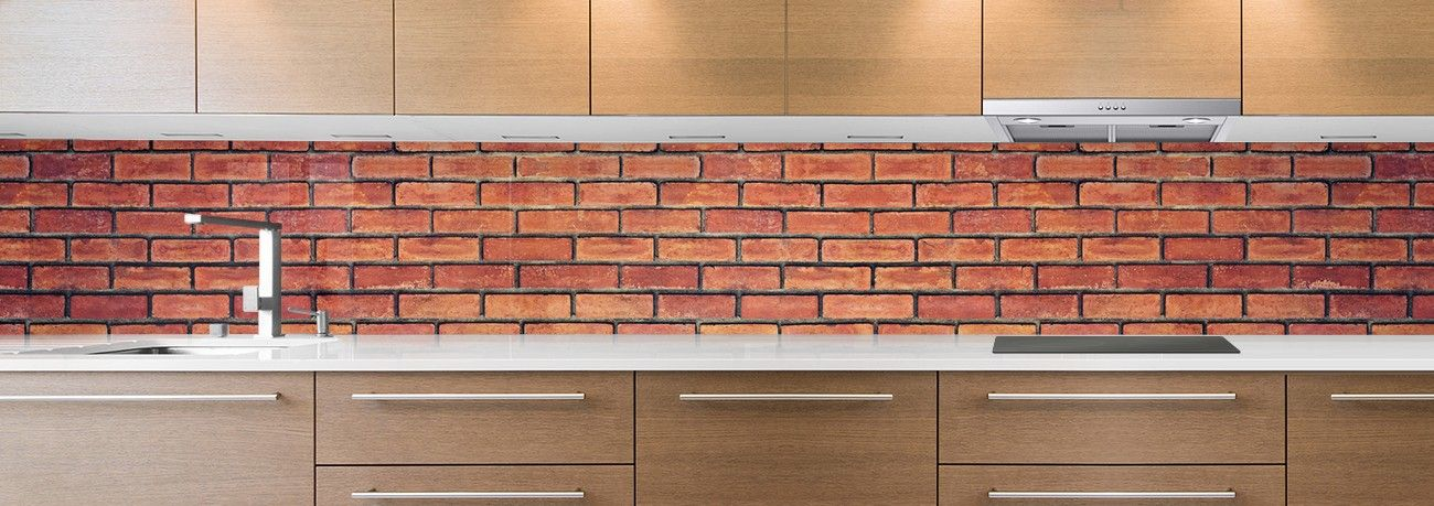 cr dence de cuisine sur mesure cr dence briques rouges. Black Bedroom Furniture Sets. Home Design Ideas