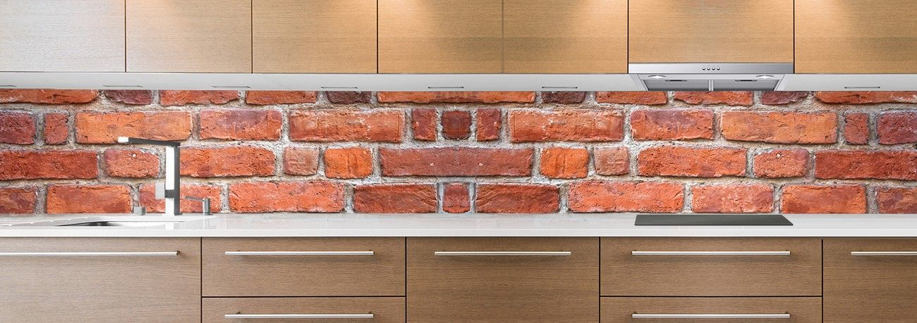 crédence de cuisine sur mesure crédence grosses briques orange