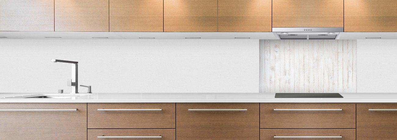 crédence parquet blanc verticale hotte
