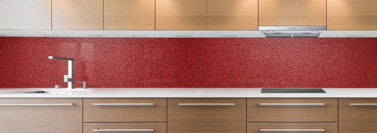 Cr dence de cuisine sur mesure cr dence tissu jean rouge - Credence cuisine rouge ...