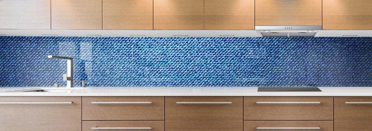 cr dence de cuisine sur mesure cr dence tissu jean bleu clair. Black Bedroom Furniture Sets. Home Design Ideas