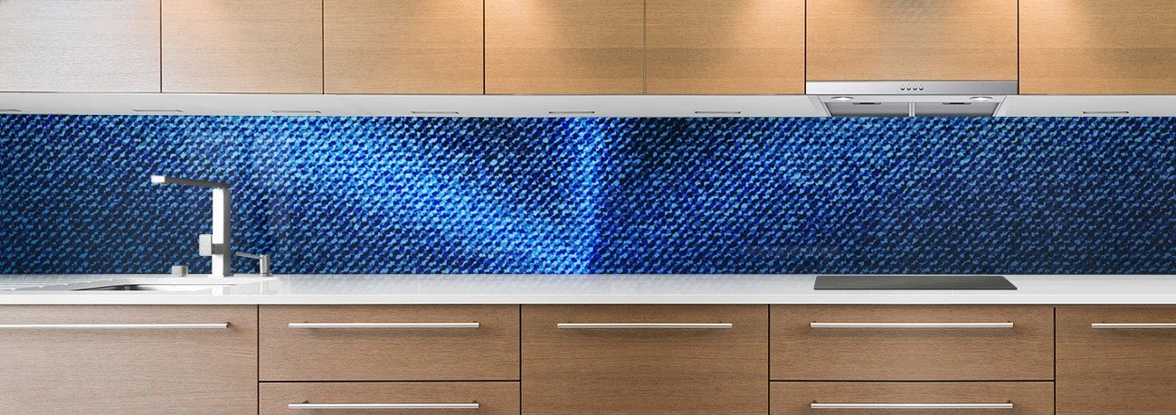cr dence de cuisine sur mesure cr dence tissu jean bleu toile. Black Bedroom Furniture Sets. Home Design Ideas