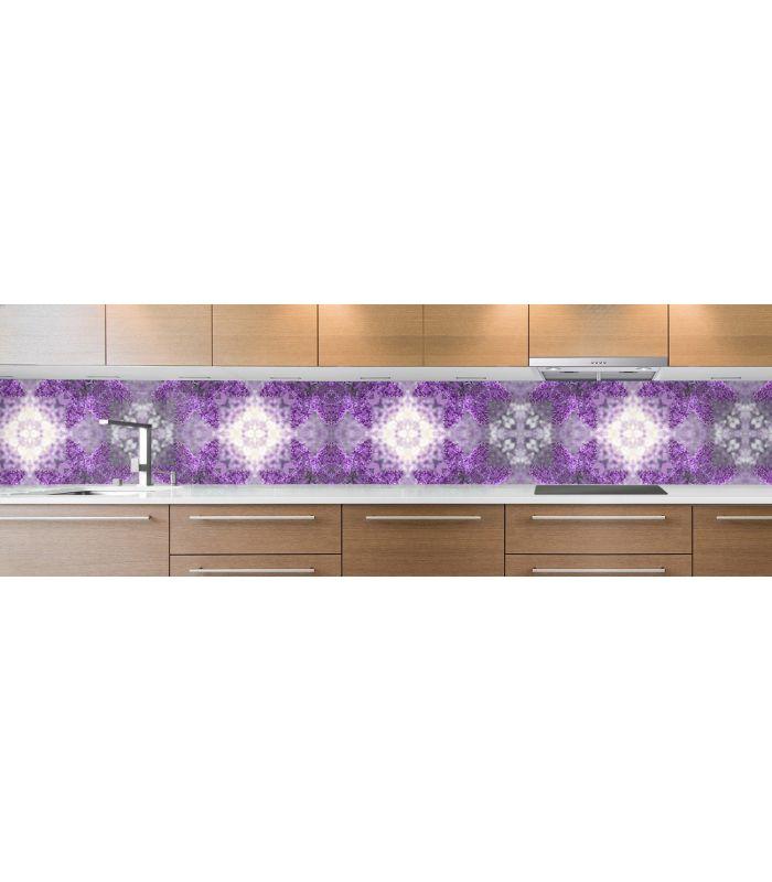 crédence de cuisine sur mesure crédence mosaique violette grosse