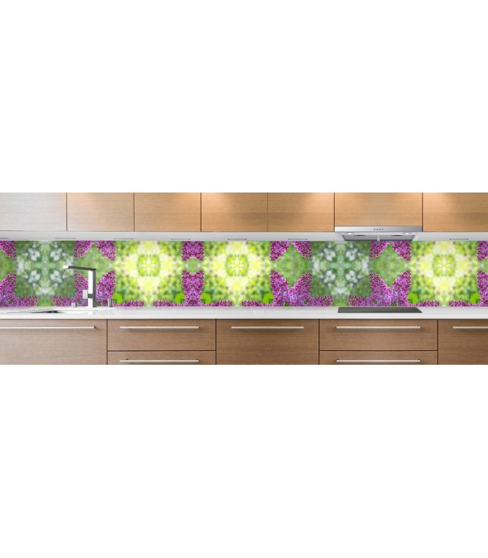 crédence de cuisine sur mesure crédence mosaique verte & violette grosse