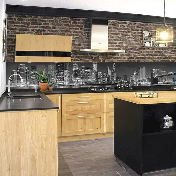 cr dence cuisine coller sur mesure pas cher et fond de hotte avec de nombreux motifs originaux. Black Bedroom Furniture Sets. Home Design Ideas